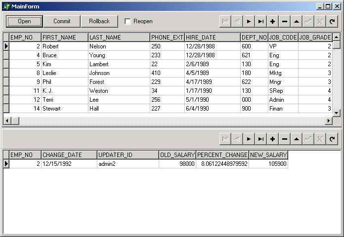 IBX Main Form Showing Data