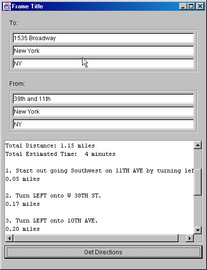 Nyc Map Quest.A Java Client For The Mapquest Web Service
