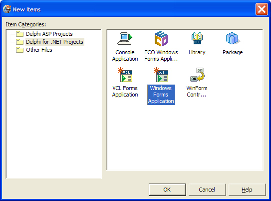 Creating new WinForm application