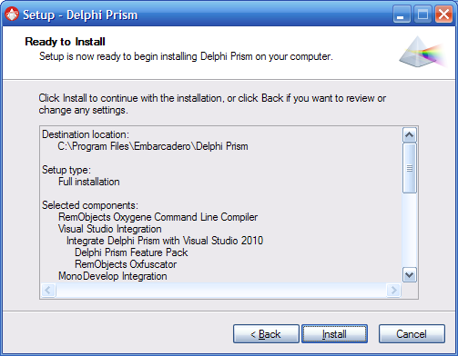 Installing Delphi Prism 2011 from an ISO or DVD