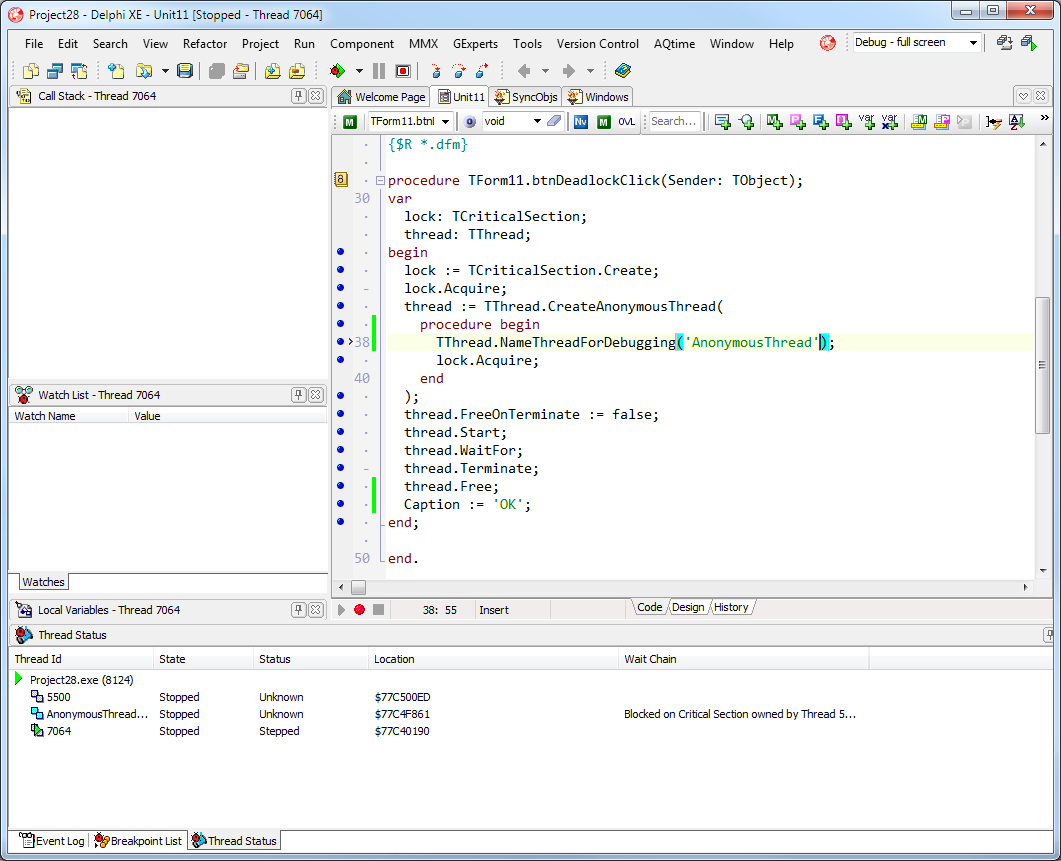 Debugging Multithreaded Applications with Delphi